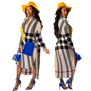 2020 Designer irrégulières femmes mode cou cravate robe chemise imprimé rayé robe longue maxi single robe à manches pleine poitrine avec des boutons