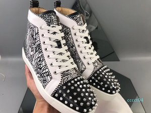 Real Photo High Quality Rivets Brands Red Bottom Men's Women's Louisflats Graffiti Sneakers Party Wedding Spikes Pecfect Walking EU35-46 4ct