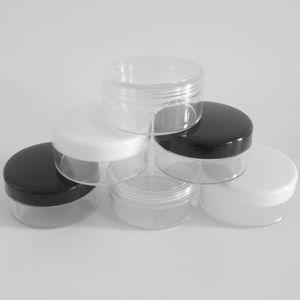 30g 30ml / 1oz Lip Balm recipientes transparentes redondas Cosméticos Pot Frascos com Preto Clear White Screw Cap Tampas para Nail Pó Sombra