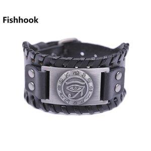 Fishhook Kör dropshipping Cadılık Nazar kovmak Evil Spirits ve Sen Erkekler Siyah Kahverengi Deri Bileklik için Good Luck