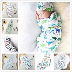 가방 모자 잠자는 INS 신생아 단단히 싸는 랩은 동물 꽃 모슬린 랩 모자 유아 코쿤 싸기 수면 자루 모자 판매 E22602를 설정합니다