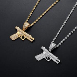 18K Золотое пистолет ожерелье подвесной микро асфальтированный CZ серебряный позолоченный мужской хип-хоп ювелирных изделий подарок