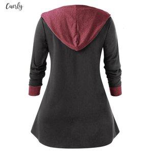 Plus Size 2020 Autumn Hoodies Blouse Women Long Sleeve Shirt Casual Color Patch Zipper Tunic Tops Hooded Blusas Chemise Femme