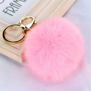 Real Rabbit Fur Ball Keychain Soft Fur Ball Lovely Gold Metal Key Chains Ball Pom Poms Plush Keychain Car Keyring Bag Earrings Accessories