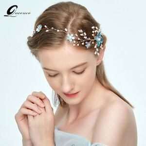 Queenco fleur bleue Bandeaux de mariage en cristal Accessoires cheveux de mariée Coiffe demoiselle d'honneur cheveux Bijoux femmes Ornements