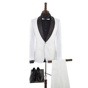 High Quality One Button Groomsmen Shawl Lapel Groom Tuxedos Men Suits Wedding/Prom Best Man Blazer ( Jacket+Pants+Tie) A74