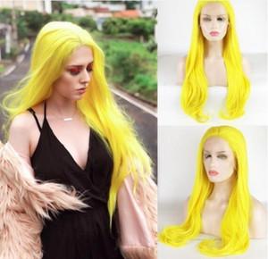 천연 부드러운 코스프레 가발 실키 스트레이트 합성 내열성 섬유 오렌지 옐로우 컬러 자연 합성 레이스 프론트 가발 흑인 여성을위한