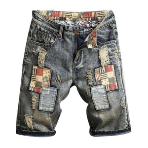 New Mens Ripped Denim Shorts Men Moda Denim Jeans slim Hetero Pants Tendência Mens estilista Calças