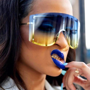 2019 негабаритных бескаркасные очки женщин ретро старинное квадратный кадр один кусок безободкового солнца очков оттенки Gafas-де-золь