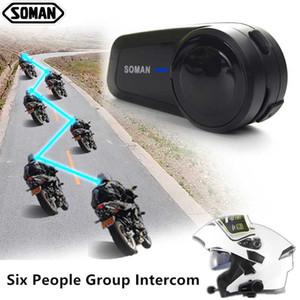 Soman Casco Bluetooth Headset sei persone citofono del casco del motociclo di Bluetooth Full Duplex Caschi altoparlante auricolare motore M2