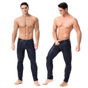 Alta elástica Mens couro preto faux Latex Leggings Wetlook Clubwear Zipper Bondage Calças exóticas Gay fase do clube do desgaste da dança