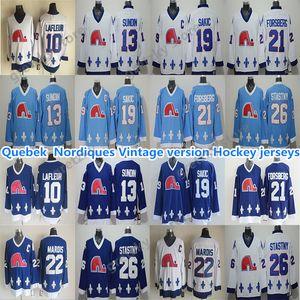 Quebec Nordiques Vintage Jerseys 19 Sakic 13 Sundin 26 STATNY 10 Lafleur 22 Marois 21 Forsberg Eccellente CCM Hockey Jerseys
