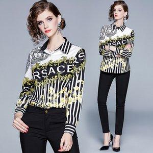 Старинные женские барочные рубашки с принтом с длинным рукавом женские плюс размер отворотом шеи повседневные женские блузки тонкий взлетно посадочная полоса офисные рубашки на пуговицах топы