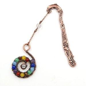 10 piezas de cobre Wire Wrap forma de espiral muchos colores bolas de piedra colgante Marca cura Chakra joyería