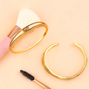 ZHONGVI Cuff Bangles For Women Gold Rainbow Evil Eye Bangles Bracelets With Crystal Jewelry CZ Women Jewelry Gifts