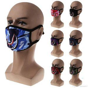 Lavable Bain Shark Visage Masque Femmes Hommes Bouche moufles Masques CARTOON Cyclisme design Masque Camo pourpre rouge bleu Requins masques effrayants B61901