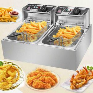 ZOKOP 5000W 12L Stainsteel Electric Deep Fryer Dual Tank Commercial Restaurant