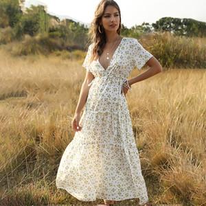 Retro Chic Maxi-Kleid-Frauen 2019 Sommer-elegante kurze Hülse V-Ausschnitt mit hohen Taille Kleid-Blumendruck Boho Strand-langen Kleides