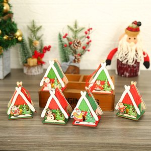 Christmas Decorations of 10PCS Lot LED Light DIY Wooden Colorful House Christmas Ornaments for Festival Kids Children Gift