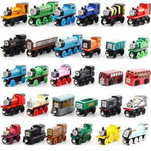 나무 자기 훈련 장난감 트랙 철도 차량 장난감 아이들을위한 나무 기관차 자동차 어린이 선물 기차 모델