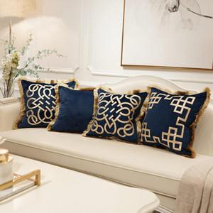 Luxury Embroidered Cushion Covers Velvet Tassels Pillow Case 45*45cm Home Decorative European Sofa Car Throw Pillows Blue Brown
