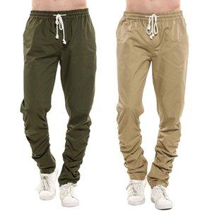 Erkekler Moda İpli Elastik Bel Uzun Orta Tam Boy Rahat Düz Pantolon Wasit Cepler