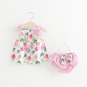 Dress Sling neonate floreale vestito infantile a strisce stampato l'arco del bambino del bambino Ruffler PP Shorts bambini vestiti casuali Ragazze attrezzature del bambino 060226