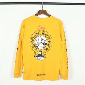 Projeto Homens T Original shirt mangas compridas e impressão em torno do pescoço T Shirt Cotton Pure moda Bottoming shirt tamanho M-2XL Hülf