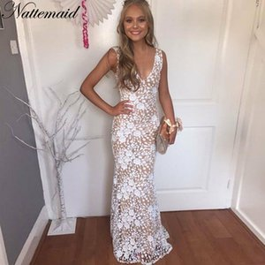 NATTEMAID Long Maxi Backless 2018 Women Dresses Summer Evening Party White Dress Sexy V Neck Elegant Sequin Lace Dress Vestidos