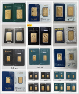 12 DESIGNS 1 oz PAMP Suisse Veriscan Perth Mint RCM Apmex bar lingots d'or plaqué or Bar Metal Crafts numéro de série différent MIX 2pcs
