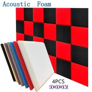 Qualidade 7 Cores 50X50X5cm Estúdio Acústico Soundproof Foam Som Absorção Tile Flat Panel Tratamento Wedge Sponge Protective