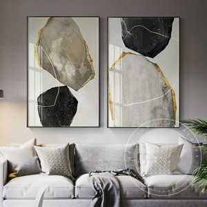 Stampa per Canvas Black Home And Yellow Fashion Poster Decor Art Thing Painting Strange Wall Living Room Cuadros Blocks Abstract EWTGN