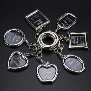 Family Photo Frame Key Chain Keyrings Яблоко Сердце Круглый квадратной формы Charm для сумки Key Chain Keyrings Silver Jewlery Брелки