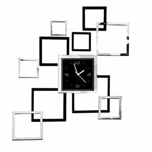 Quadratisch Rechteck Wand-Uhr Modernes Design 3D-Spiegel-Aufkleber-Dekoration Reloj Cocina Pared für Büro Wohnzimmer Hauptdekoration Wanduhr