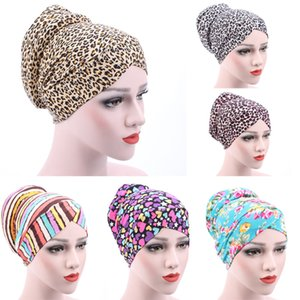 New small floral kerchief hat female leopard Muslim cotton chemo cap after the hair cap scarfs for ladies muslim scarves