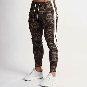 Fashion Men New Camouflagedruck Jogger Bleistift-Hosen männliche Seite Striped elastische Taillen-Kordelzug Camouflage Hose Hosen