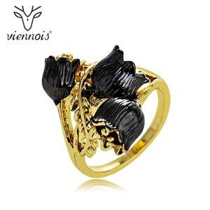 Viennois New Black Rose Blumen-Frauen-Größen-Ring-Goldfarben-Cocktailparty-Ring 2020