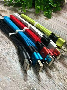 Tipo C Micro USB Cable 1M 3FT tessuto di nylon intrecciato Noodles colori 2.0A ibrido per Smart Phone 100PCS / LOT