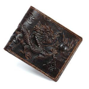 OLOEY ретро мужской дракон бумажник короткого кожаный бумажник конечный простой мужской мешок карточка кошелек горизонтальный и вертикальный