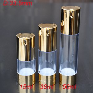 100pcs 15ml pump airless bottle with UV gold pump & bottom,plastic airless 0.5 ounce bottle, 15 ml airless Cosmetic Container