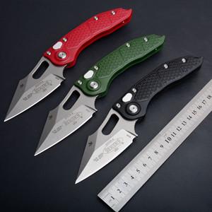 Micro-tech 0979 M390 cuchilla de acero Cuchillo plegable automático lavado a la piedra y estatina, rodamiento de bolígrafo clip de fibra de nylon mango de camping cuchillos de caza