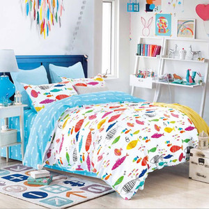 100% Cotton Soft Healthy Bedding Set for Kids Lovely Fishes Design Cotton Bed Cover Bed Sheet 192