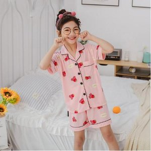 New Cardigan Cartoon Homewear For Girls Boys Childrens Pajamas Short Sleeve Cotton Pyjamas Set Baby Clothes Kids Sleepweary1OU#