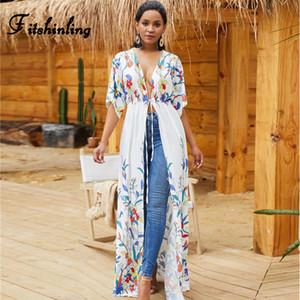 Fitshinling Drucken Blumen Strand Vertuschung Badebekleidung Urlaub Bohemien schlank sexy weißen langen Kimono Cardigan Sommer Bikini äußere Abdeckung