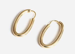Oval earrings INS cool wind CHIC minimalist creative hip hop personality gold-plated copper earrings earrings