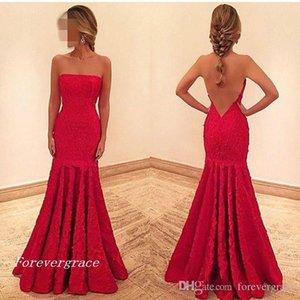 2019 New Red Meramid Long Evening Dress Strapless V Back Lace Dubai African Formal Holiday Wear Party Gown Custom Made Plus Size