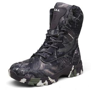 HOMASS Zapatos de senderismo tácticos de gran tamaño Hombres Camo Botas de caza impermeables Botas altas superiores de combate al aire libre Ejército del desierto Botas
