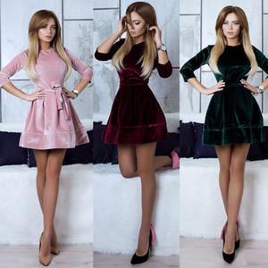 Le donne retrò coreano Velvet Dress 2017 autunno inverno casuale manicotto dei tre quarti solido colore di fondo eleganti abiti d'epoca