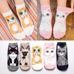 Симпатичные животные Японии Skarpetki Смешные носки Kawaii Cat Dog Sokken Art White Socks Женщины Новизна Harajuku Chaussette Femme