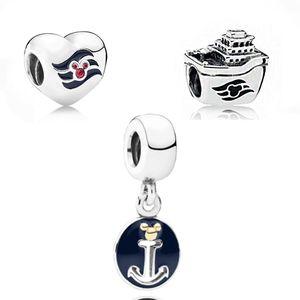 2020 Yüksek Kalite 1: 1 Klasik Gümüş 925 Benim Fare Disne Deniz Hatları Kalp, Çapa Charm Kolye Diy Orjinal Kadın Takı Hediye